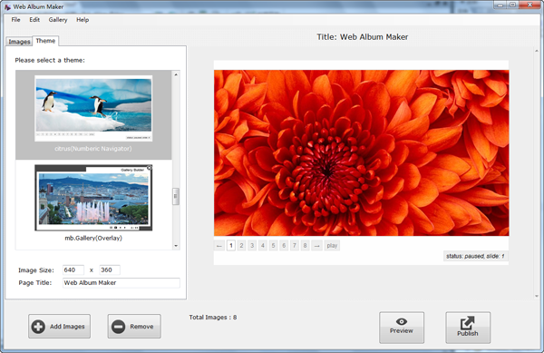 choose theme for web photo gallery