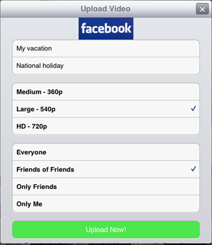 upload video to Facebook from iPad