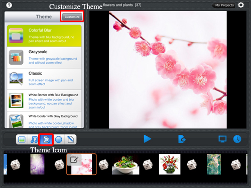 choose theme for slideshow