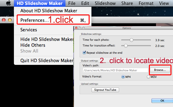 slideshow setting on mac