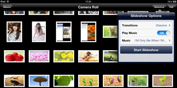ipad slideshow feature