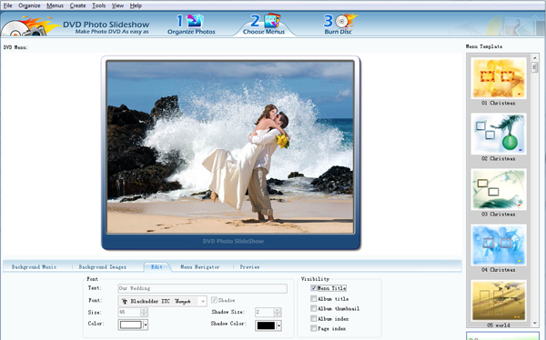 choose dvd menu for slideshow dvd