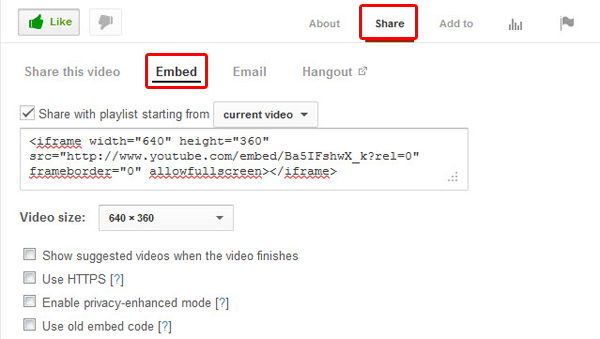 embed youtube video to website and blog