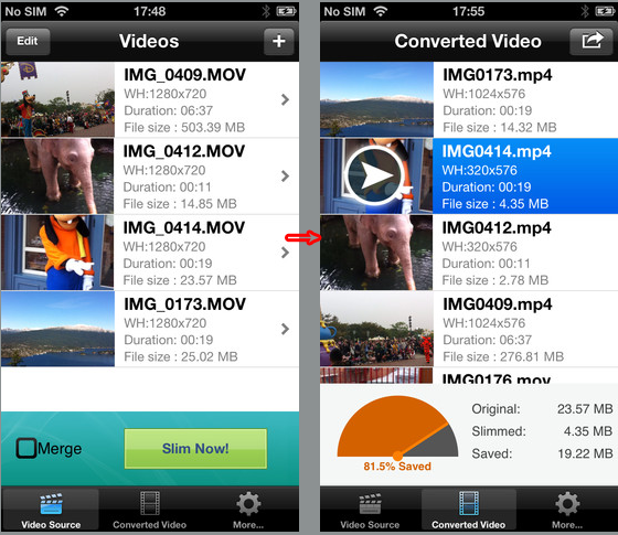 lessen video size on ipad iphone