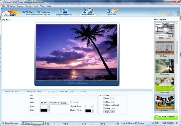 Choose menus for slideshow dvd