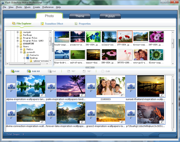 organize photos in flash software