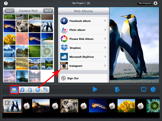 add photos from ipad albums