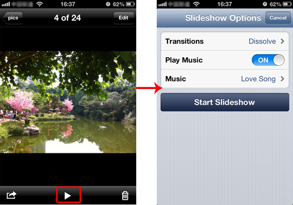 iphone slide show free