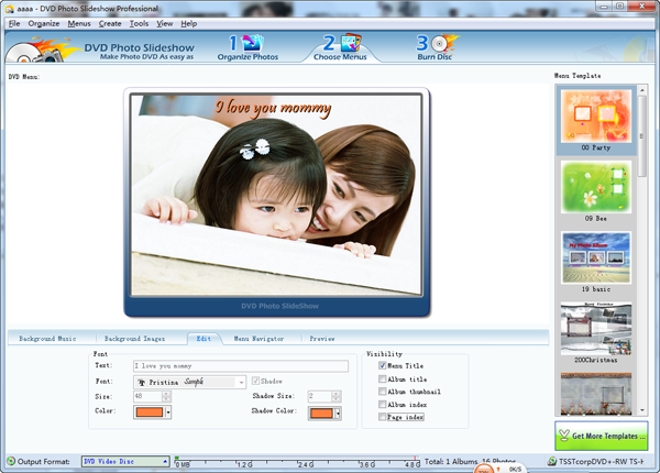 Mother day slideshow dvd menu