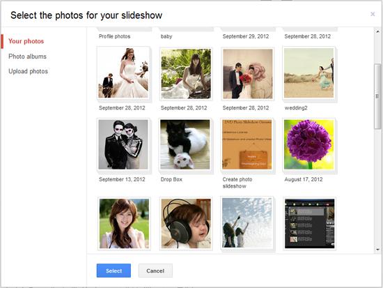 selct photos for youtube slideshow