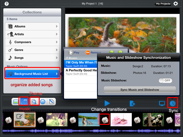 sync pictures to music in slideshow
