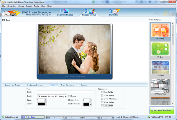 choose menu for wedding slideshow dvd