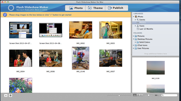 add images to flash slideshow maker