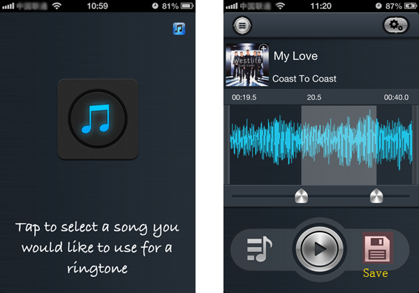 add music and create ringtone